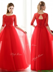 See Through Scoop Half Sleeves Red Bridesmaid Dresses with Lace and Belt