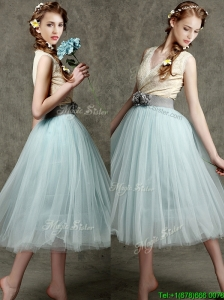 Best Hand Made Flowers and Belted V Neck Prom Dresses  in Apple Green