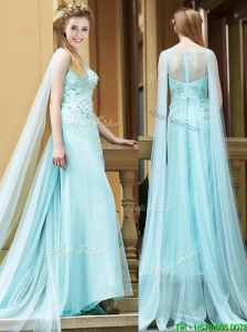 Elegant  Bateau Applique Watteau Train Bridesmaid Dresses in Light Blue