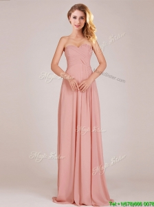 Elegant  Empire Chiffon Ruched Long Bridesmaid Dresses in Peach