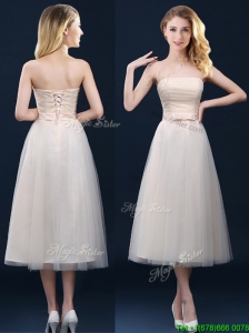 Elegant Low Price Strapless Belt Champagne Long Bridesmaid Dresses in Tulle