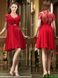 Elegant See Through Back Red Short Bridesmaid Dresses with Short Sleeves