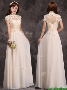 Hot Sale High Neck Champagne Bridesmaid Dresses with Appliques and Lace