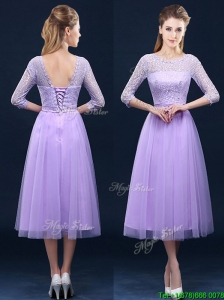 Latest Half Sleeves Tea Length Laced Bridesmaid Dresses in Lavender