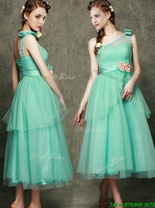 See Through One Shoulder Prom Dresses  with Bowknot and Hand Made Flowers