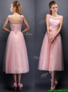 Sexy Hand Made Flowers and Applique Scoop Prom Dresses in Baby Pink
