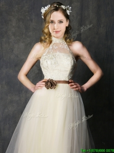 Sweet High Neck Champagne Bridesmaid Dresses with Hand Made Flowers and Lace