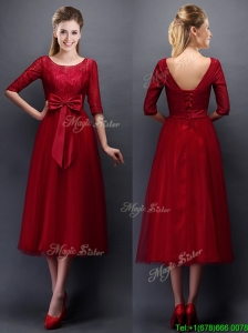 Gorgeous Scoop Half Sleeves Bowknot Mother of the Bride Dresses in Wine Red