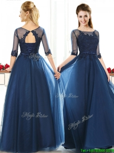Luxurious See Through Scoop Half Sleeves  Mother of the Bride Dresses with Lace and Belt