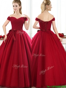 New Arrivals Off the Shoulder Wine Red Mother of the Bride Dresses  with Bowknot