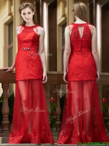 2016 Sexy Belted Red Long Prom Dresses in Tulle and Lace