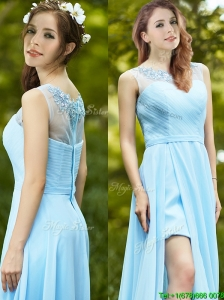 Elegant See Through Scoop Appliques Prom Dresses in Light Blue