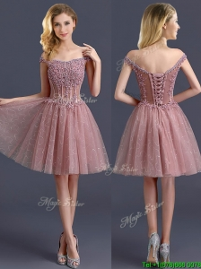 Gorgeous Off the Shoulder Cap Sleeves Prom Dresses  with Appliques