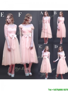 Gorgeous Off the Shoulder Cap Sleeves Prom Dresses with Bowknot