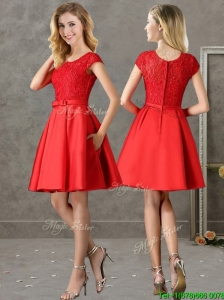 Gorgeous Scoop Cap Sleeves Red  Prom Dresses with Lace and Bowknot