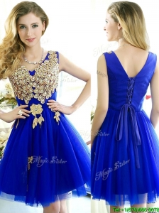 Modest V Neck Short  Prom Dresses  with Rhinestone and Appliques