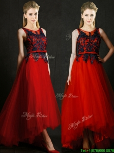 Perfect High Low Belted and Black Applique  Prom Dresses  in Red