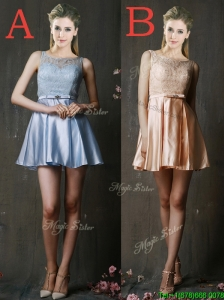 Pretty Bateau Laced and Belted Short  Prom Dresses  in Taffeta