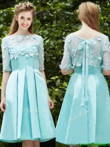 See Through Bateau Half Sleeves Appliques Prom Dresses  in Apple
