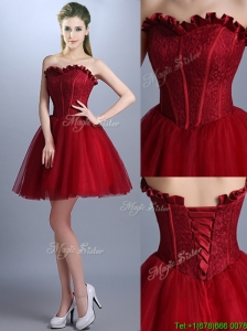 Sexy New Arrivals Laced Mini Length Prom Dresses  in Wine Red