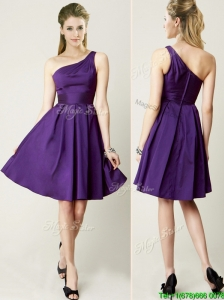 Sexy One Shoulder Purple Short Prom Dresses for Summer