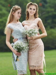 Sexy See Through Scoop Cap Sleeves Prom Dresses  with Sashes