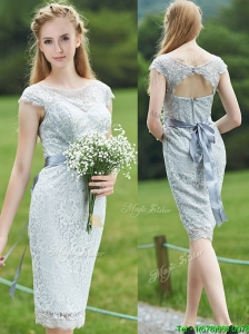 Wonderful Scoop Cap Sleeves Sashes Prom Dresses in Grey