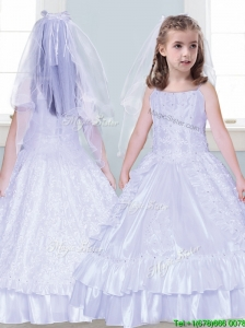 Classical Spaghetti Straps Taffeta Flower Girl Dress with Beading and Lace