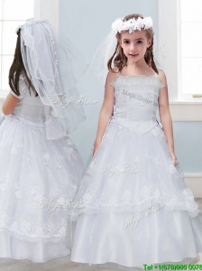 Perfect Laced Spaghetti Straps Tulle Flower Girl Dress in White
