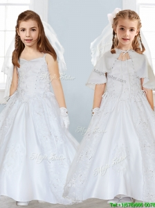 Popular Spaghetti Straps Satin Flower Girl Dress with Lace and Beading
