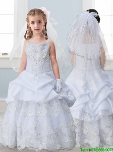 Best Spaghetti Straps Flower Girl Dress with Lace and Pick Ups