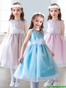 Elegant Scoop Tea Length Little Girl Pageant Dress with Appliques and Hand Made Flowers