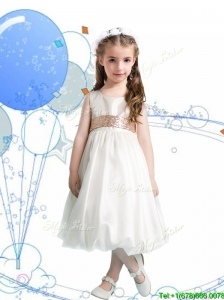 Gorgeous Scoop Sequins Flower Girl Dress in White for Spring