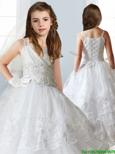 Luxurious White Spaghetti Straps Little Girl Pageant Dress with Appliques and Ruffled Layers