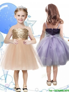 Perfect Spaghetti Straps Sashes and Sequins Flower Girl Dress in Champagne