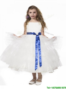 Romantic Ruffled Layers and Bowknot Little Girl Pageant Dress in White