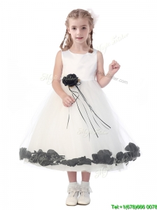 Romantic Scoop Flower Girl Dress with Hand Made Flowers and Appliques