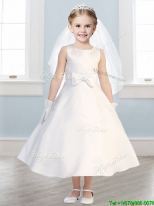 Simple Scoop Satin Bowknot Flower Girl Dress in White