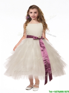 Lovely Scoop White Little Girl Pageant Dress with Bowknot and Ruffled Layers