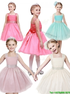 Popular Straps Tulle Little Girl Pageant Dress with Bowknot and Beading
