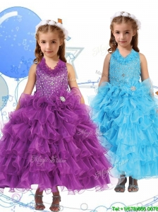 Affordable Halter Top Little Girl Pageant Dress with Beading and Ruffled Layers