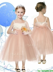 Affordable Spaghetti Straps Hand Made Flowers Little Girl Pageant Dress in Champagne