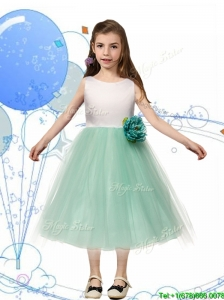 Comfortable Scoop Hand Made Flowers and Bowknot Little Girl Pageant Dress in Apple Green