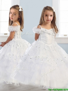 Exquisite Spaghetti Straps Cap Sleeves Little Girl Pageant Dress with Lace and Ruffled Layers