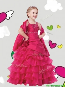 Gorgeous Straps Little Girl Pageant Dress with Ruffled Layers and Hand Made Flowers