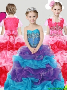 Lovely Beaded and Ruffled Little Girl Pageant Dress with Puffy Skirt