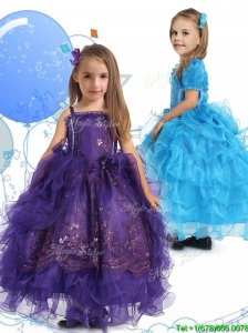 Luxurious Spaghetti Straps Little Girl Pageant Dress with Lace and Ruffled Layers