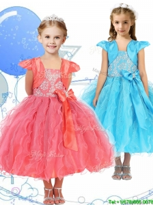 Modest Spaghetti Straps Little Girl Pageant Dress with Beading and Ruffles