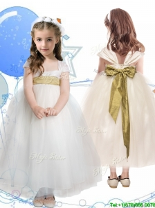 New Arrivals Square Cap Sleeves Little Girl Pageant Dress with Sashes