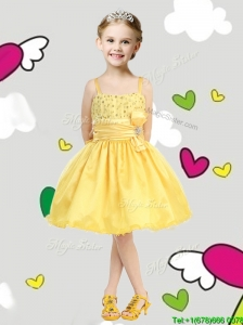 Perfect Spaghetti Straps Belt and Sequins Little Girl Pageant Dress in Yellow